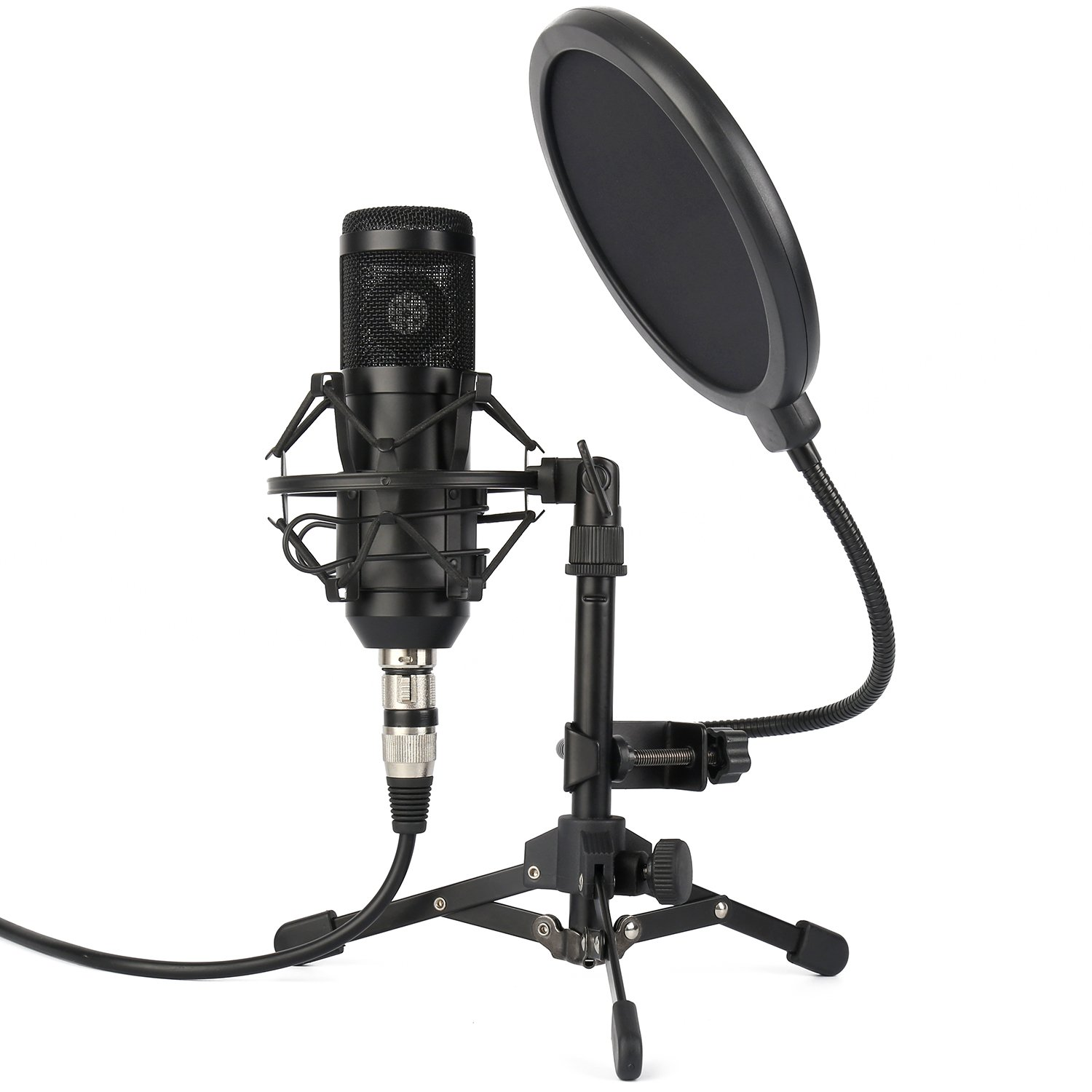 ZINGYOU ZY-801 Professional Studio Microphone, Desktop Computer Cardioid Condenser Mic with Tripod for PC Recording, Broadcasting (Black) by ZINGYOU
