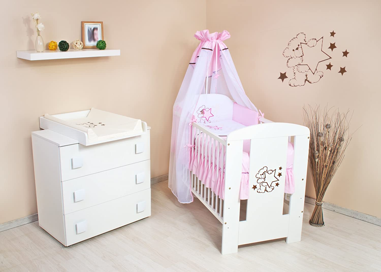 Babyzimmer (weiss) sparset incl. Babybett , Wickelkommode , Ausstattung - Komplettset (rosa)