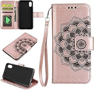 iPhone X Housse EST-EU Retro Mandala fleur estampée PU en cuir Housse de protection avec porte-cartes, Portefeuille Étui pour iPhone X, Noir