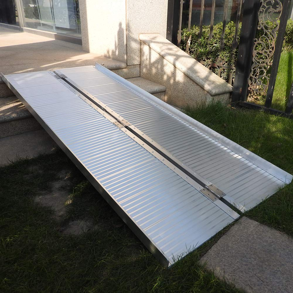SSLine 5ft Portable Singlefold Ramp Heavy Duty Wheelchair Scooter Threshold Ramp with Carry Handle Non-Slip Gangway Loading Traction Ramp for Wheelchairs - Weight Capacity 600lbs by SSLine
