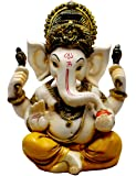 Amazing India Hand Carved God Ganesha Resin Idol Sculpture Statue Size 5.6 Inches