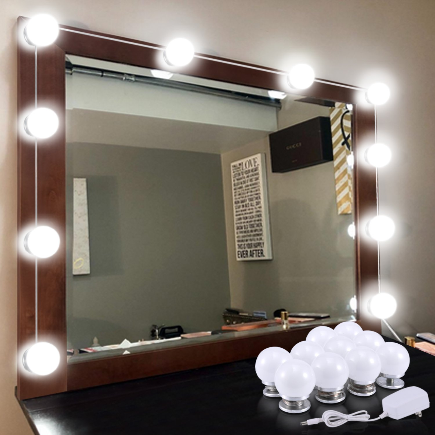 Hollywood Vanity Mirror Light Kits, Kohree Dimmable Led Makeup Mirror Light Bulbs (10 Bulbs),Vanity Lights for Ma