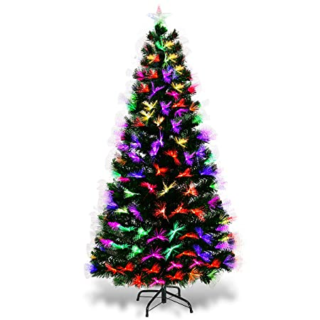 f9e4841a385e6 GYMAX 5ft 6ft 7ft Green Fibre Optic Artificial Christmas Tree Multicolor Led  Large Xmas Tree 180cm 210cm Indoor Outdoor (5 FT)  Amazon.co.uk  Kitchen    Home