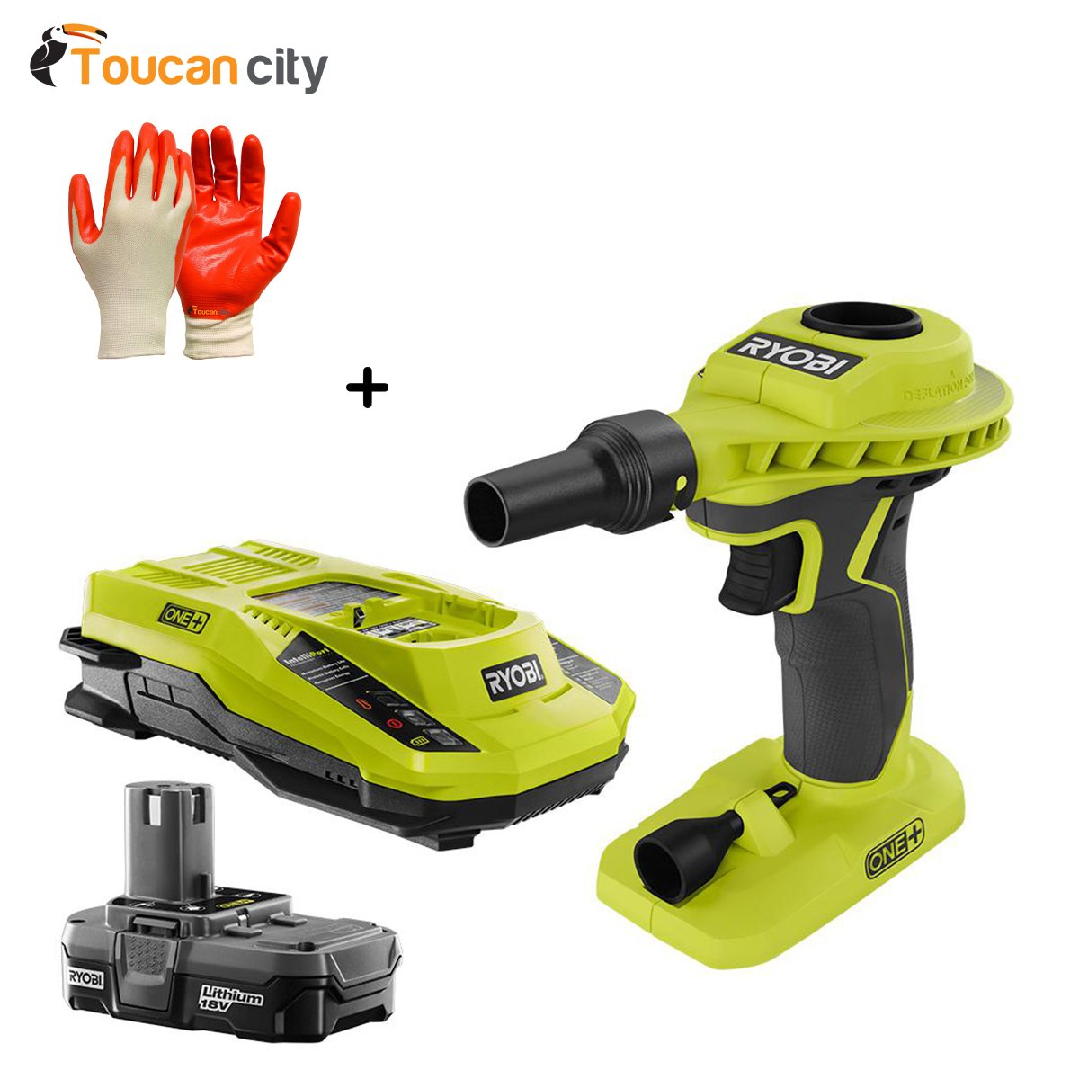 RYOBI 18-Volt High Power Volume Inflator with Compact Battery and Charger P738-P128 and Toucan City Nitrile Dip Gloves(5-Pack)