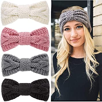 Women Ladies Girls Winter Crochet Knitted Big Bow Turban Headband Hair Head Band