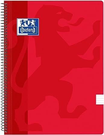Oxford Classic - Pack de 5 cuadernos espirales, tapa plástico, 1 línea horizontal, color rojo: Amazon.es: Oficina y papelería