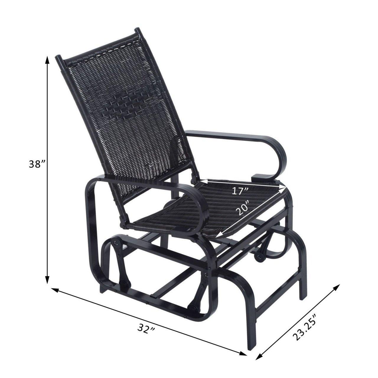 Koonlert@shop Outdoor Rattan Patio Glider Swing Chair Rocking Seat Wicker Desk Furniture #705b