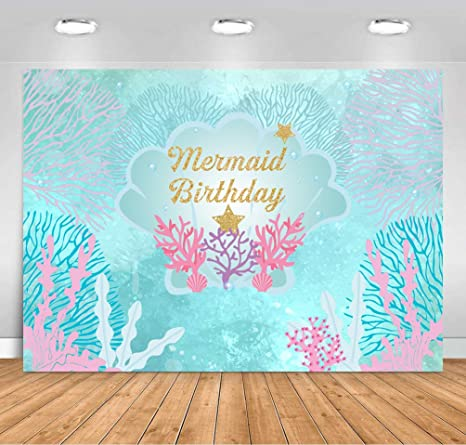 COMOPHOTO Under The Sea Little Mermaid Backdrop 7x5ft Birthday Party Photography Background Girl Princess Baby Kid Purple Pink Scales Gold Glare Glitter Pearl Banner Decoration Photo Booth
