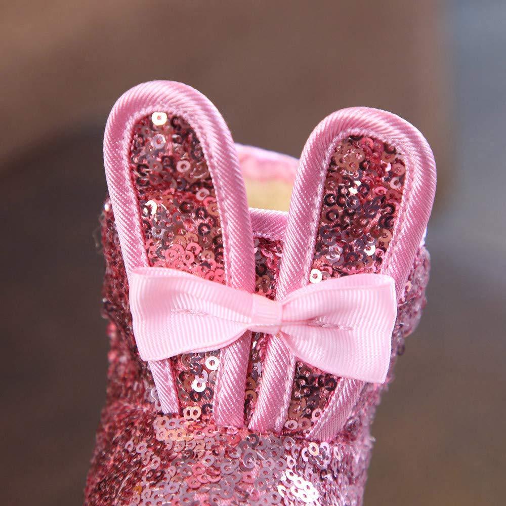 Toddler Kids Girls Snow Boot Cold Weather Rabbit Ear Bling Boot Antil Slip Winter Boot Sequins Short Boot