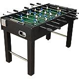 """Baby-Foot """"Glasgow"""", couleur noir, accessoires inclus, 2 portes-boissons, pieds ajustables, Football de table, table de Foot"""