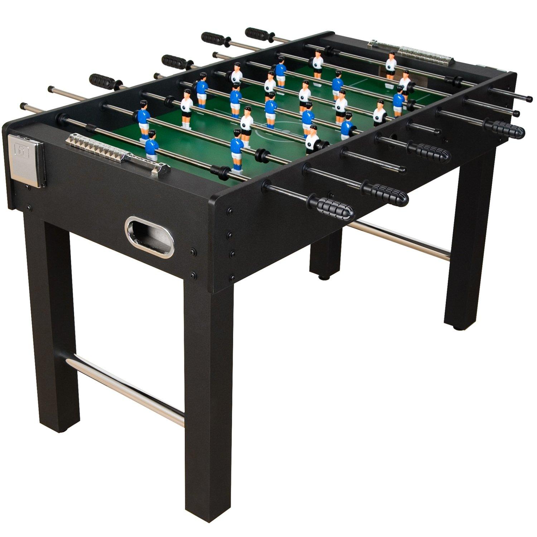 """Tischfussball """"Glasgow"""" Schwarz inkl. Zubehör Set, 2 Getränkehalter, höhenverstellbare Füße, nahtlos hochgezogene Spielfeldecken, Tischkicker, Kicker, Kickertisch"""