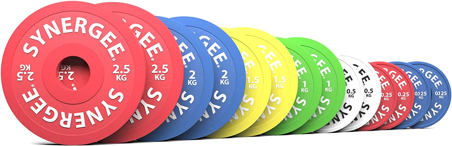 Synergee Rubberized Fractional Plates and Change Plates 0.125 kg, 0.25 kg, 0.5 kg, 1.0 kg, 1.5 kg, 2.0 kg and 2.5 kg Set. Incremental Weights, Micro Weights for Powerlifting & Olympic Lifting