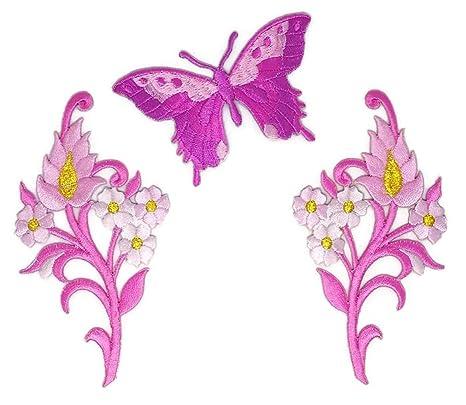 Conjunto De Flores Rosas Y Mariposas Florales Ramo Bordado Para