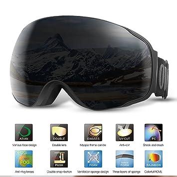 28f73f4cbc5f Ski Goggles PRO- BUKELERN Snow Goggles OTG DESIGN Frameless ...
