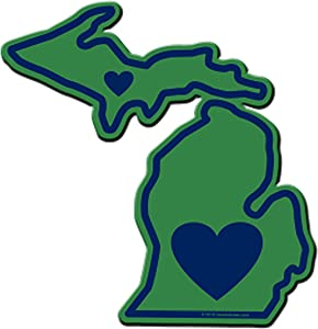Michigan Sticker Mi State Shaped Decal Vinyl Apply To Water Bottle Laptop Cooler Car Truck Bumper Tumbler 313 616 517 Roots