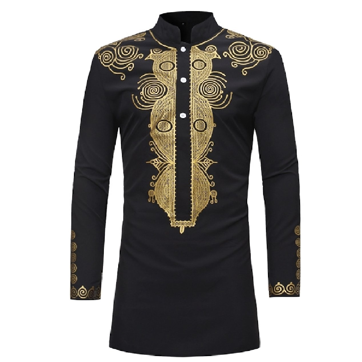 XiaoShop Mens African Style Tops Stand Collar Long Sleeve Mid-Long Shirt