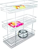 Now & Ever Stainless Steel 3 Shelves Bottle Pullout Basket, Silver, 8X20X21-Inch