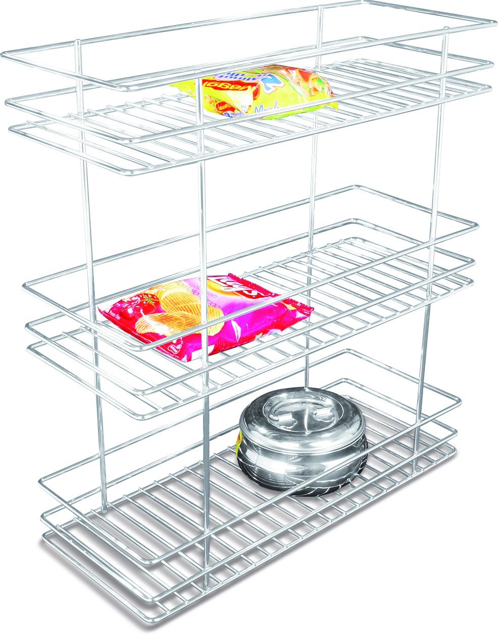 Coffee Stainless Steel Kitchen Mouldar Kitchen Three Shelf Bottle Pullout  Basket, 8 W X 20 D X 21 H Inches, Silver: Amazon.in: Home U0026 Kitchen