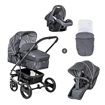 Hauck Pacific 4 Shop N Drive - carro de bebe de 7-piezas, hasta 25kg, grupo 0+, capazo transformable, silla reversible, colchón, cubrecapazo, ...