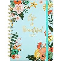 Agenda 2020 - Agenda Semainier A5 avec onglets mensuels 2020, couverture florale 15x21cm avec reliure à deux fils, à bandes