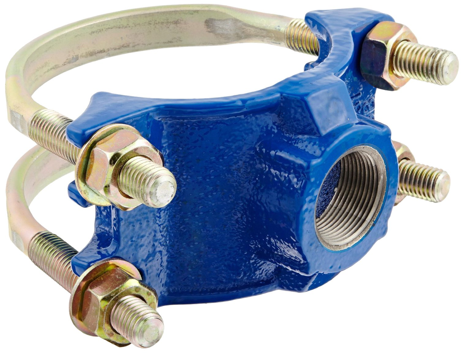 Smith-Blair Ductile Iron Saddle Clamp, Double Bale, 4'' Pipe Size, 2'' NPT Female Outlet by Smith-Blair