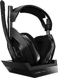 ASTRO Gaming A50 Auriculares inalámbricos para gaming y estación-base de carga, 4ta gen, Dolby Audio, control de balance de juego/voz, 2.4 GHz, 9m alcance para PS5, PS4, PC, Mac, Negro/Plata
