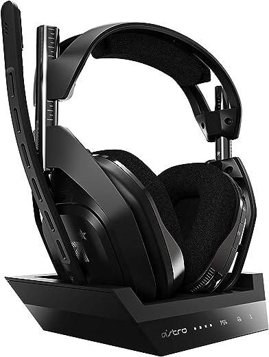 ASTRO Gaming A50 Cuffia Gaming Wireless e Stazione Base di Ricarica, 4° Generazione, Dolby Audio, Controllo Equilibrio gioco/voce, 2.4 GHz Wireless, 9 m di portata per PS5, PS4, PC, Mac, Nero/Argento