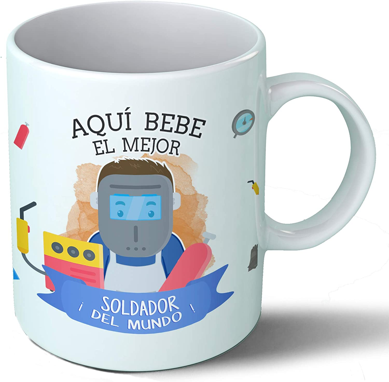 Planetacase Taza Desayuno Aquí Bebe el Mejor Soldador del Mundo Regalo Original oficios Ceramica 330 mL: Amazon.es ...