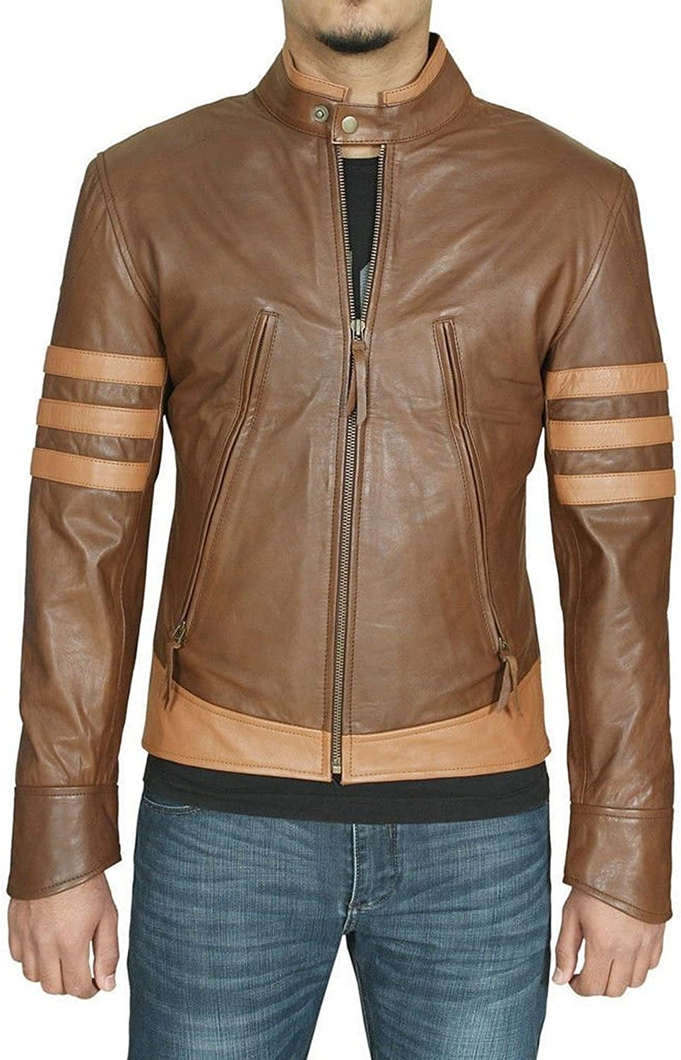 New Men Quilted Leather Jacket Soft Lambskin Biker Bomber T839