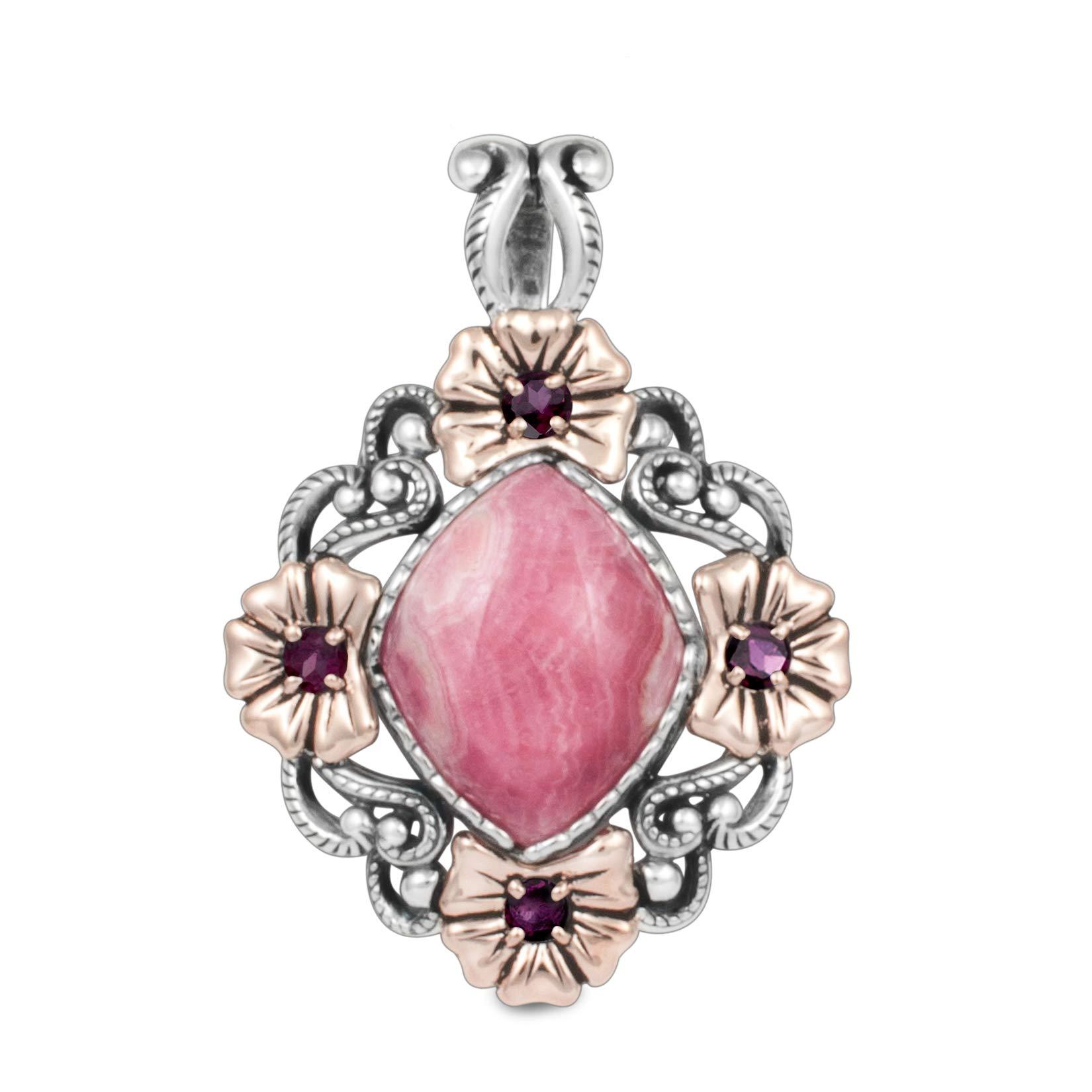 Carolyn Pollack Sterling Silver & Copper Rhodochrosite & Rhodolite Floral Pendant Enhancer by Carolyn Pollack