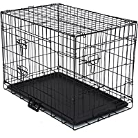 """Advwin 24"""" Dog Cage Pet Crate Puppy Cat Foldable Metal Kennel 2 Doors S, with Removable Tray"""
