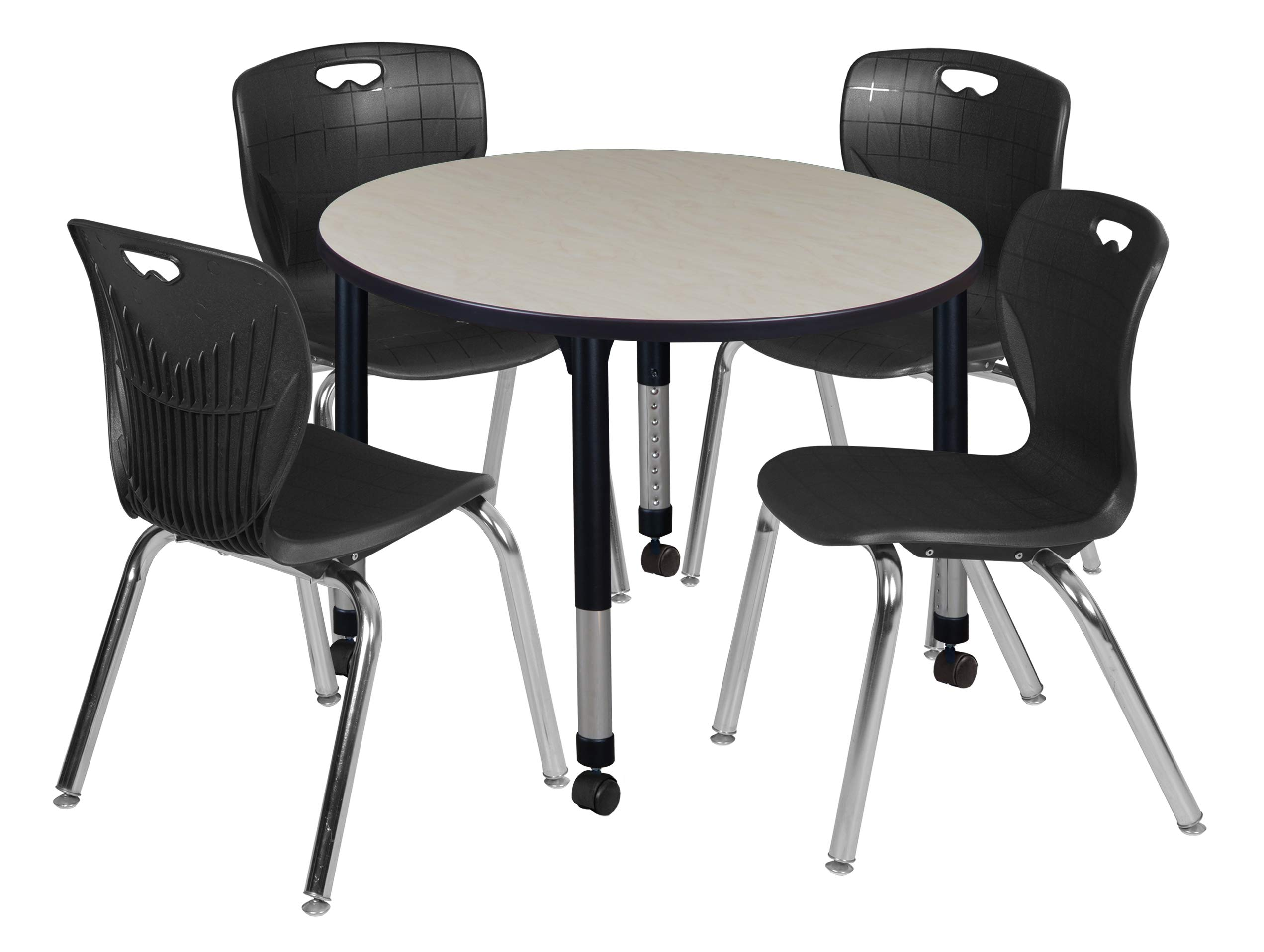 Regency TB42RNDPLAPCBK40BK Kee Height Adjustable Mobile Classroom Table Set with Four 18'' Andy Chairs 42'' Maple/Black