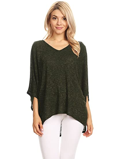 bc14ec0def7 WT1757 Womens Lightweight Batwing Sleeve Oversized Knit Top - Made in USA S  Olive Black