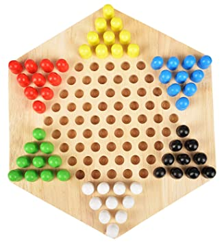 Appigo Hexagonal Wooden Toy Checkers Board Game Toy for Kids