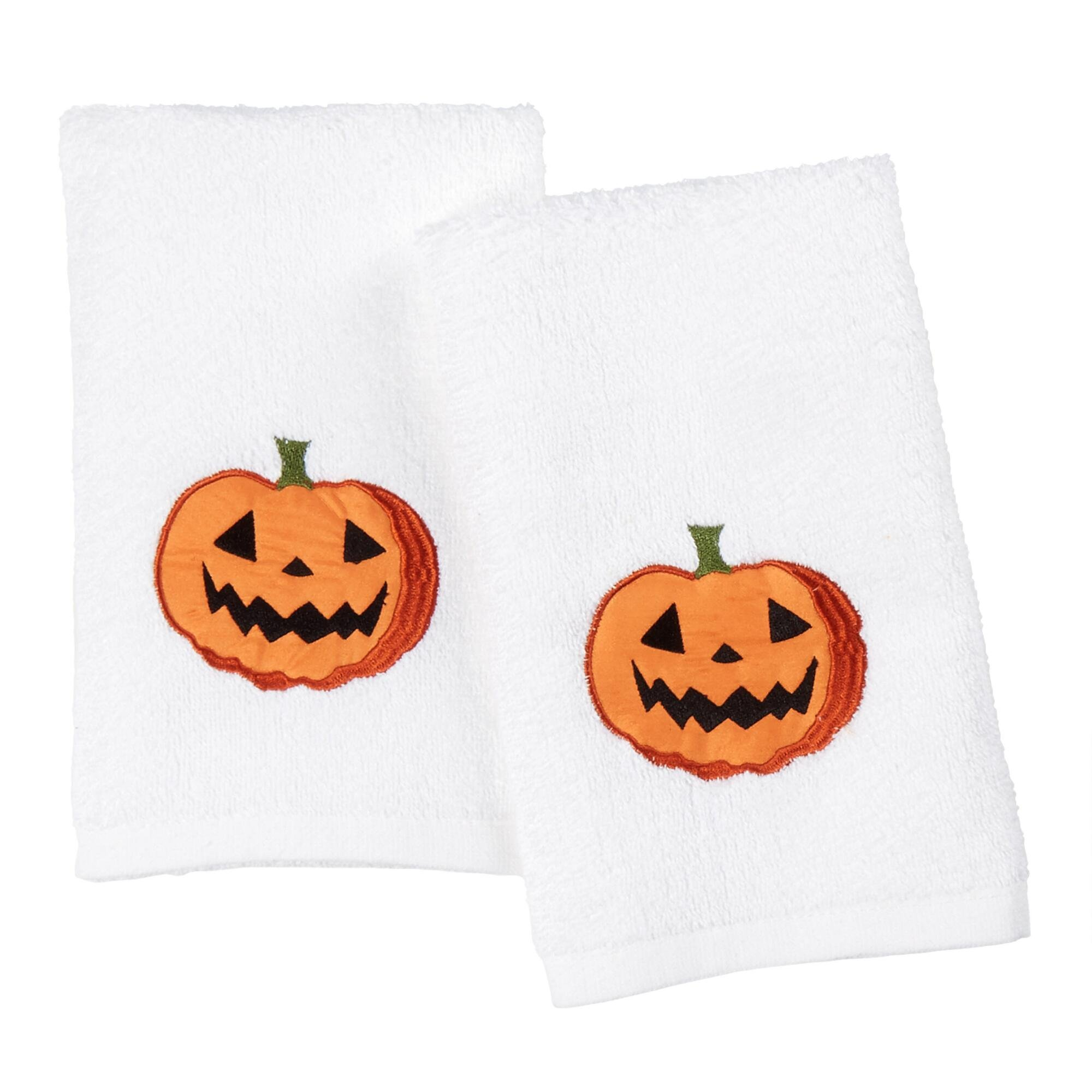 Luxury Soft and Absorbent 100% Cotton Guest Hand Towels: Embroidered Jack O Lantern Pumpkins, White Orange Black , Set of 2, 16'' by 25'' Inches