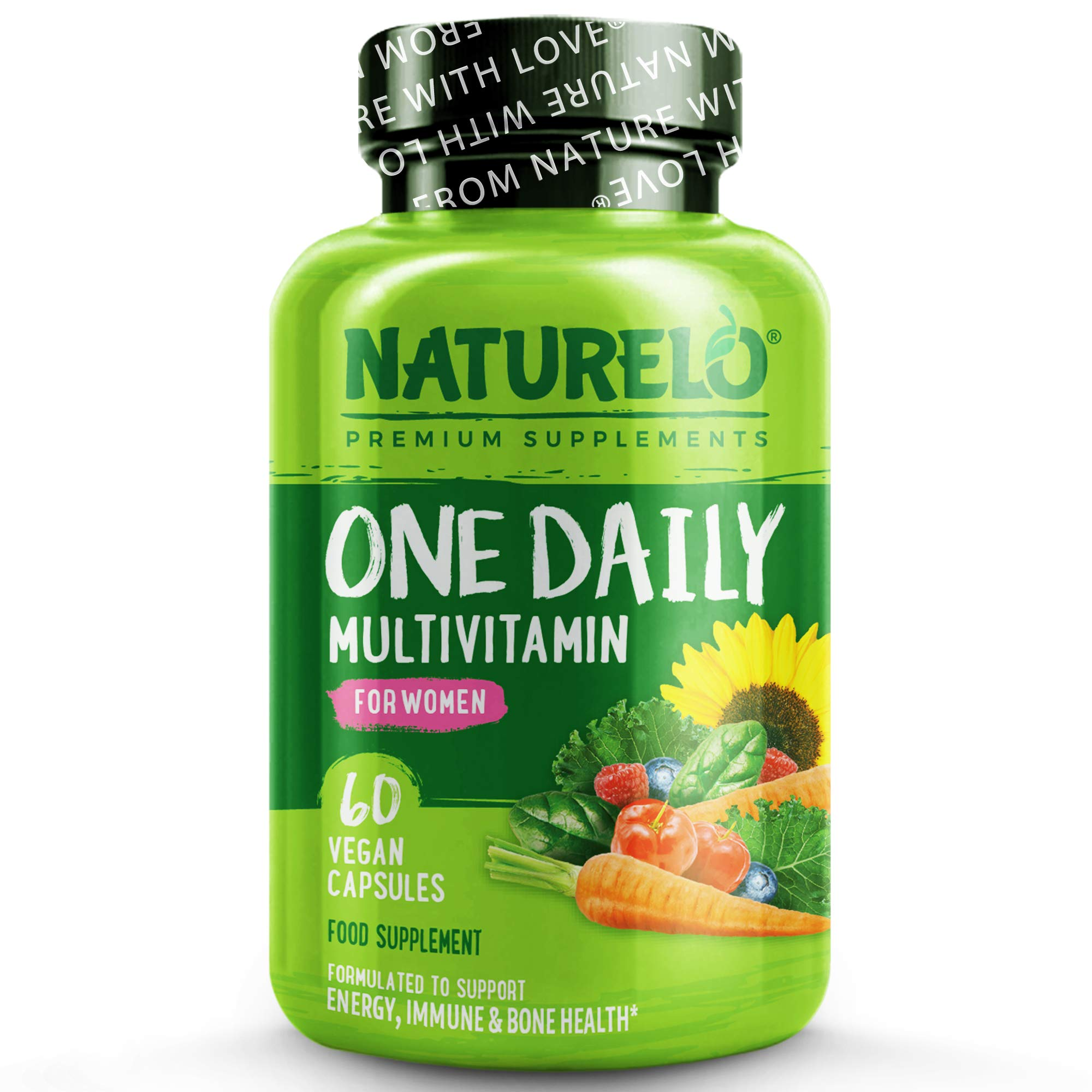 NATURELO One Daily Multivitamin for Women - with Natural Food-Based Vitamins, Fruit & Vegetable Extracts - Best for Maintaining Essential Nutrients - Non-GMO - 60 Vegan Capsules | 2 Month Supply
