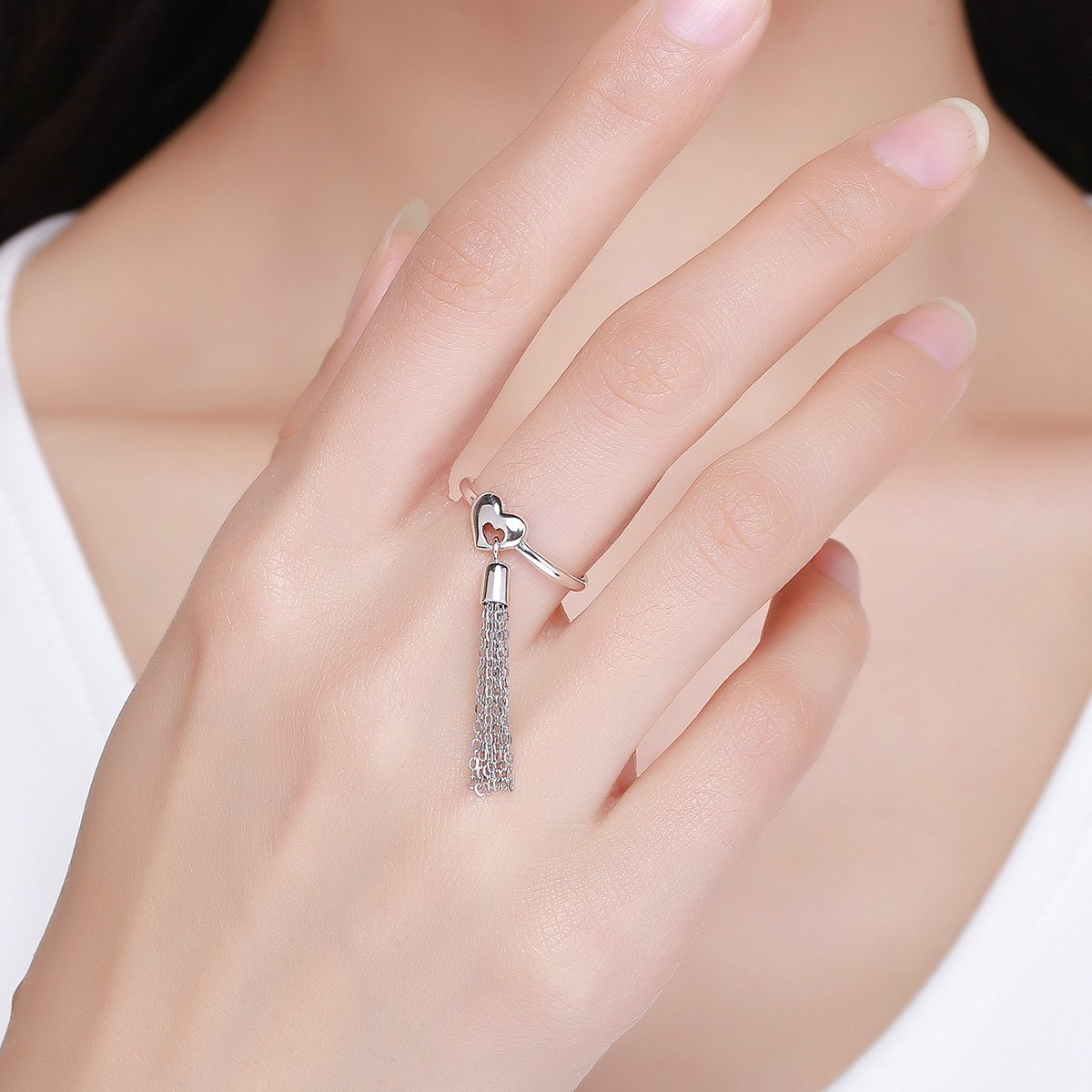 Everbling Long Chain Tassel in Heart 925 Sterling Silver Ring