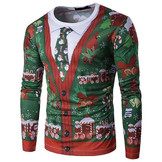 YanHoo Hombres Otoño Invierno Navidad Navidad Impresión Top Hombres Camiseta de Manga Larga Blusa Moda Casual