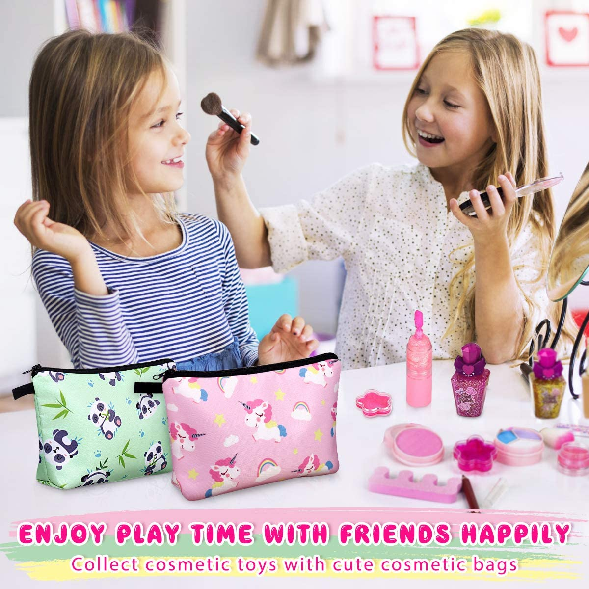 Cosmetic Bag for Girls, 3 Pack Cute Makeup Bags for Women Travel Toiletry Bag (Gifts in Sloth, Unicorn, Panda Print)