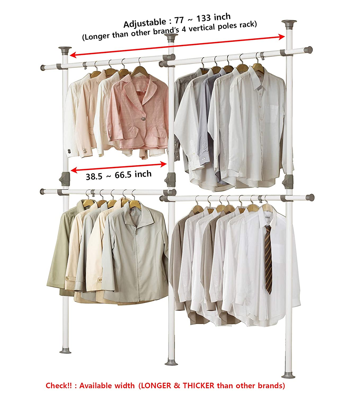 PRINCE HANGER, One Touch Double 2 Tier Adjustable Hanger, Holds 80kg(176LB) per Horizontal bar, Clothing Rack, Closet Organizer,38mm Vertical Pole, ...