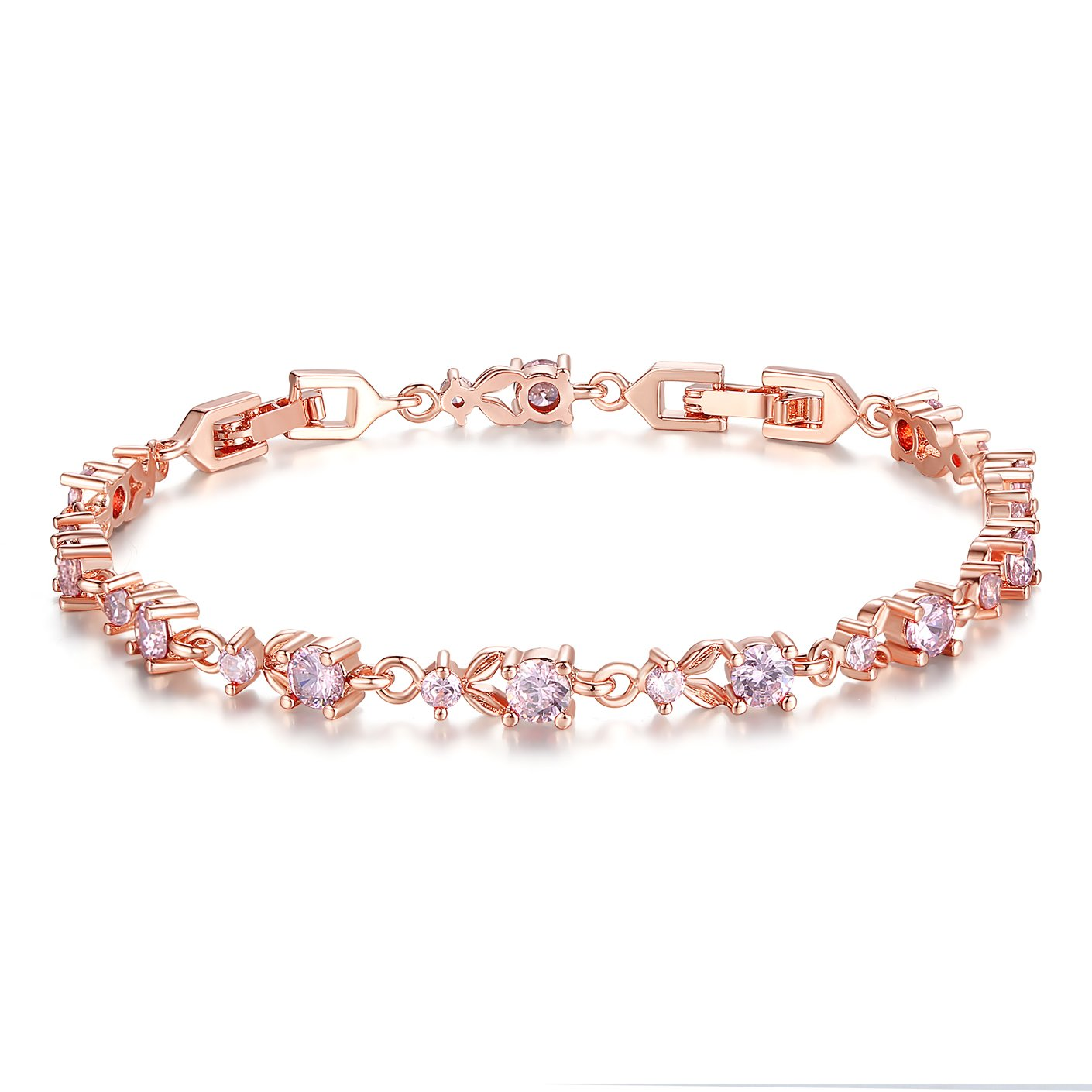 BAMOER Luxury Slender Rose Gold Plated Bracelet with Sparkling Pink Cubic Zirconia Stones