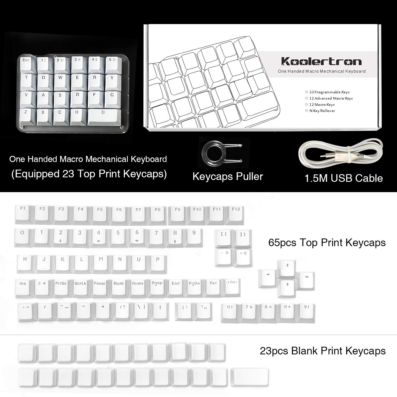 Single-Hand Programmable Mechanical Keyboard,46keys Keypad with Cherry MX Red Switch,8 Macro Keys,Side Print-White and No Print-Black Keycaps