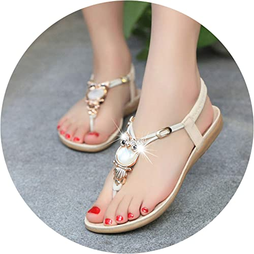 Fashion Brand Best Show Womens Elastic T-Strap Bohemia Beaded Flats Sandals Red