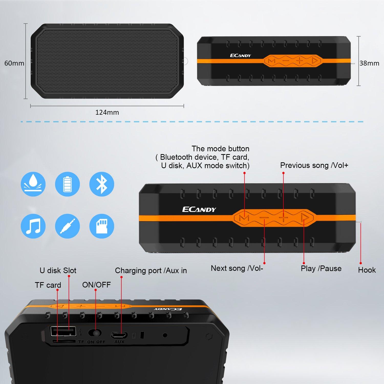 Ecandy Waterproof Wireless Speakers,Unbreak waterproof Shockproof Bluetooth Stereo Speakers,outdoor Speakers for Climbing,Cycling, Hiking (Black/Orange)