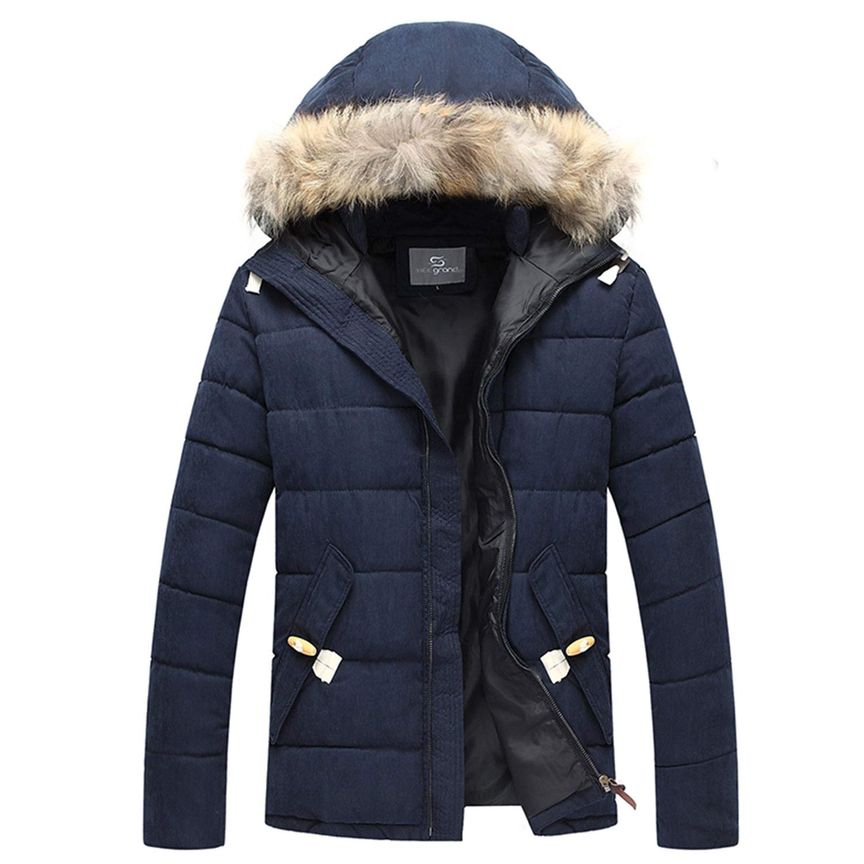 Henoo Men's Hooded Winter Coat - Faux Fur Lined Warm Padded Parka Casual Outwear Black& Blue