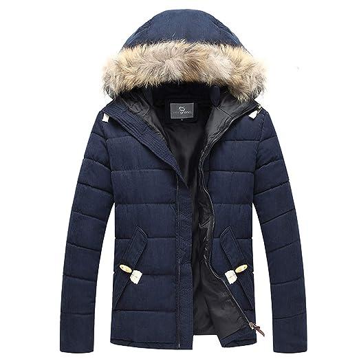 bbafbe2dae7 Henoo Men's Hooded Winter Coat - Faux Fur Lined Warm Padded Parka Casual  Outwear Black&Blue