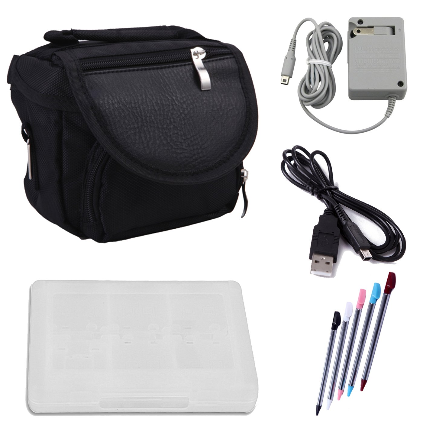 HDE Travel Bag Bundle for Nintendo 3DS Travel Bag Carrying Case + Game Card Holder + 5-Pack Retractable Stylus Pens + USB Charger Cable + AC Power Adapter (Nintendo 3DS XL, 3DS, DSi XL, DSi, DS Lite)