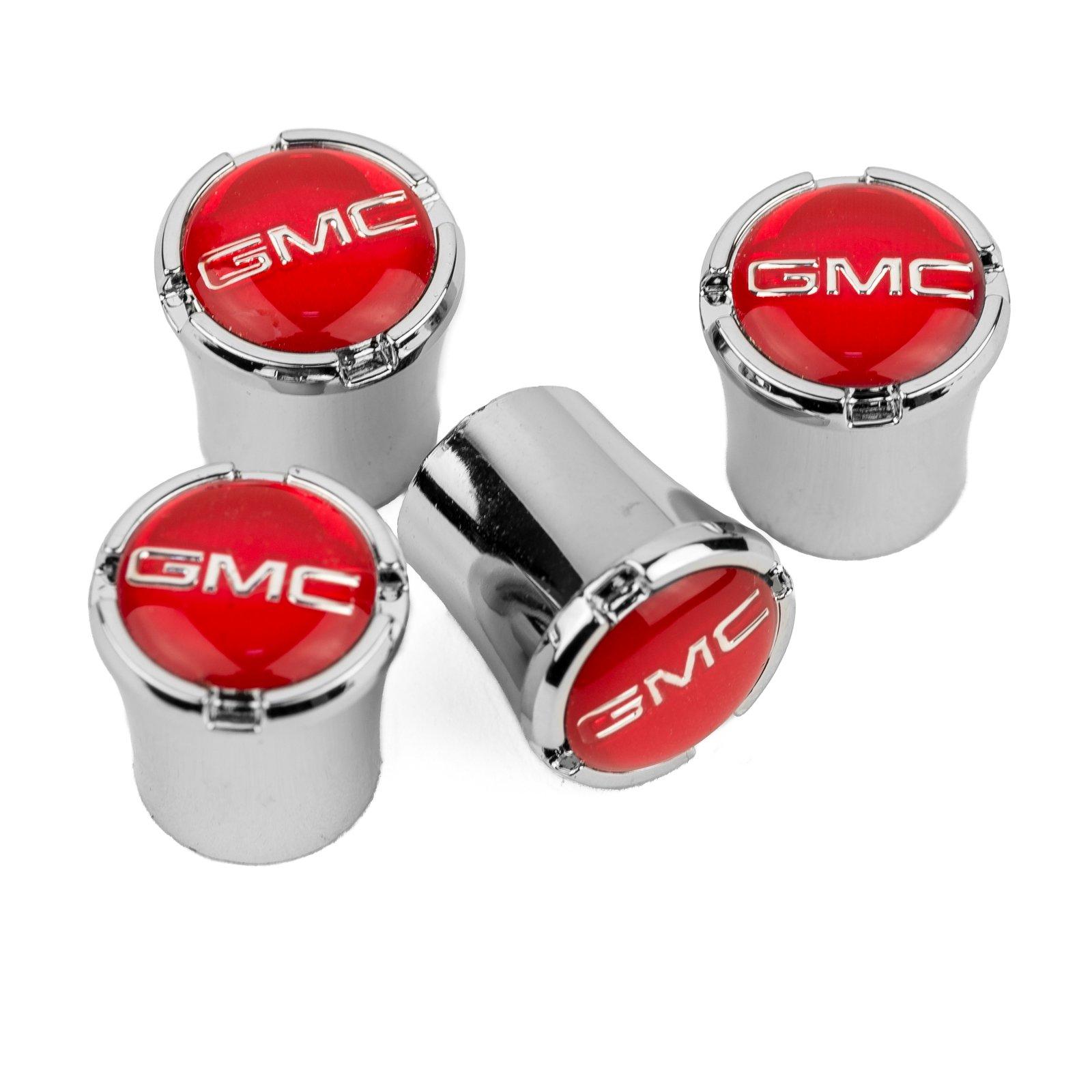 GMC Tire Valve Stem Caps - RED Logo - Sierra - Yukon - Acadia - Terrain - Savana - Canyon