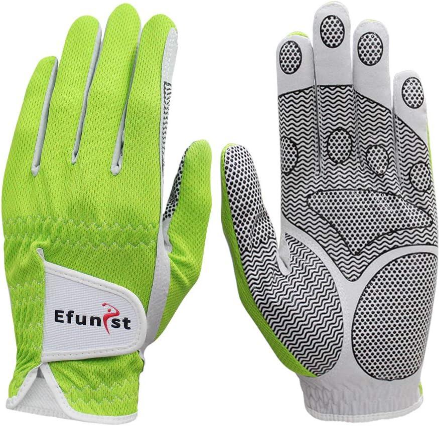 Efunist Men's Golf Glove 2 Pack Left Hand Hot Wet Weather No Sweat Non-Slip Fit Size Small Medium Large XL