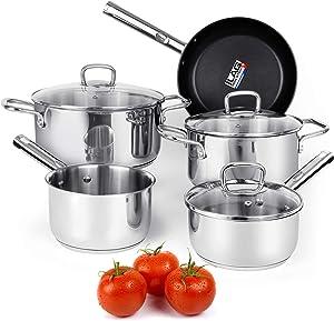 Vermi 8 pieces Ceramic Nonstick Cookware Set